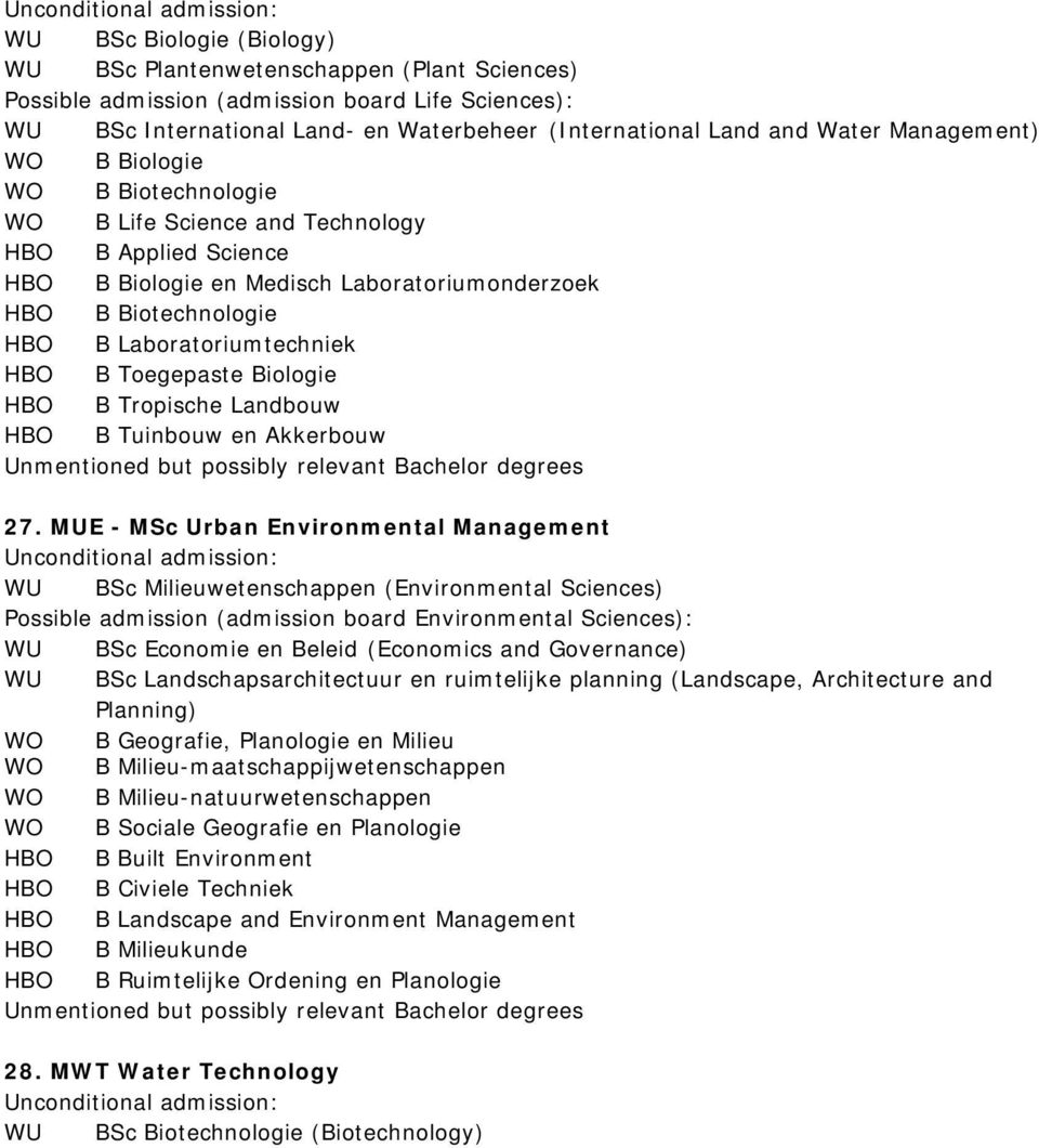 MUE - MSc Urban Environmental Management WU BSc Landschapsarchitectuur en ruimtelijke planning (Landscape, Architecture and WO B Geografie, Planologie en