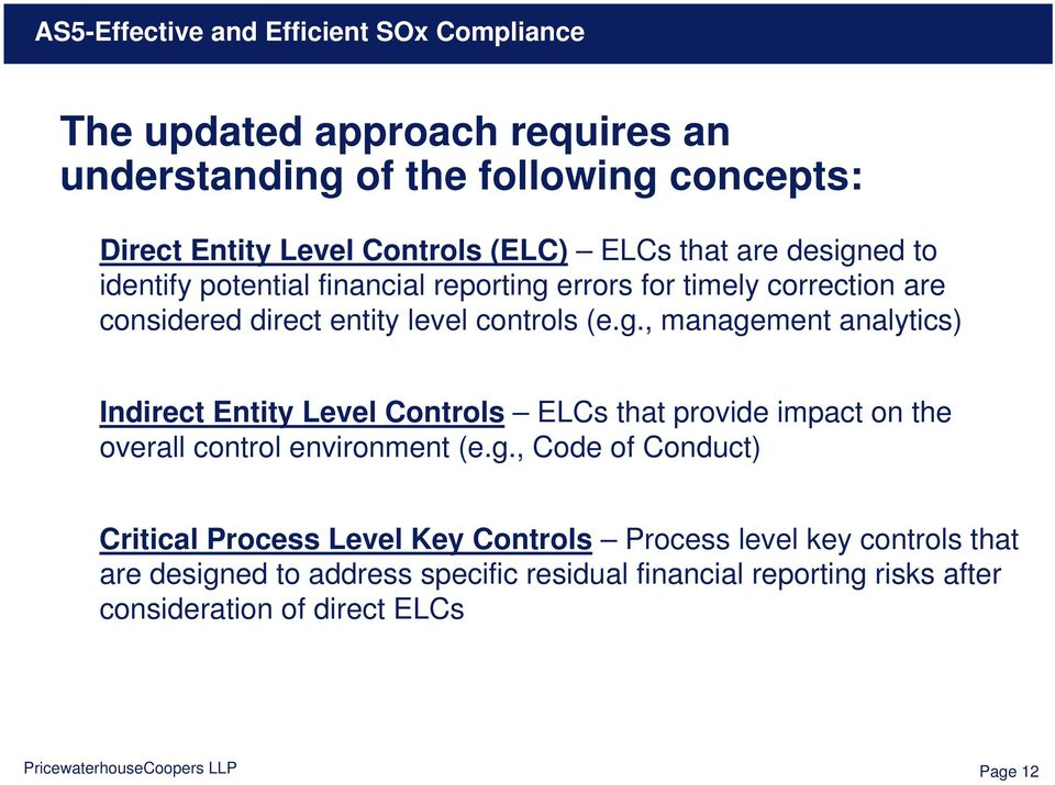 errors for timely correction are considered direct entity level controls (e.g.
