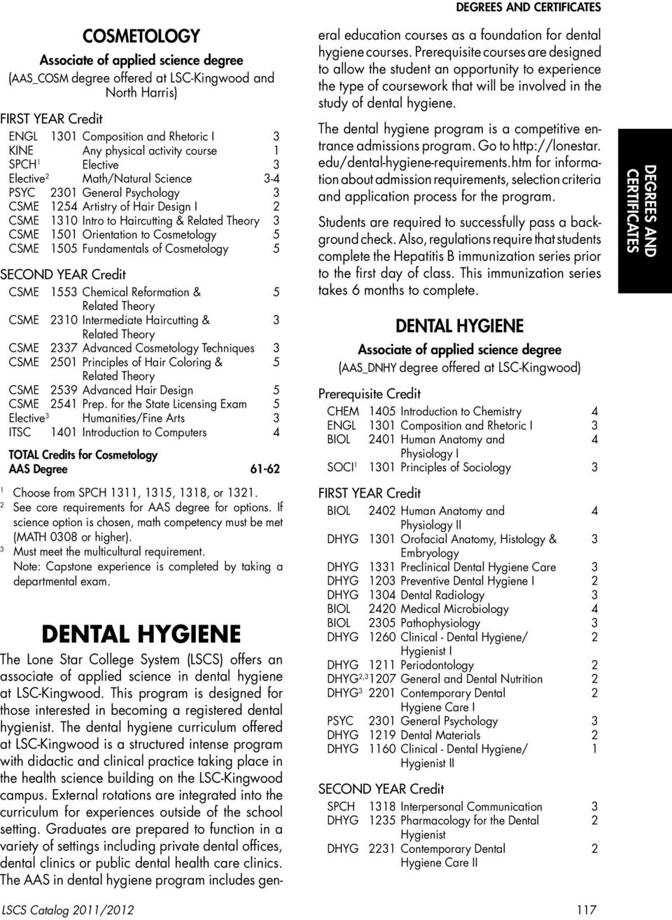 Cosmetology 5 CSME 55 Chemical Reformation & 5 Related Theory CSME 0 Intermediate Haircutting & Related Theory CSME 7 Advanced Cosmetology Techniques CSME 50 Principles of Hair Coloring & 5 Related