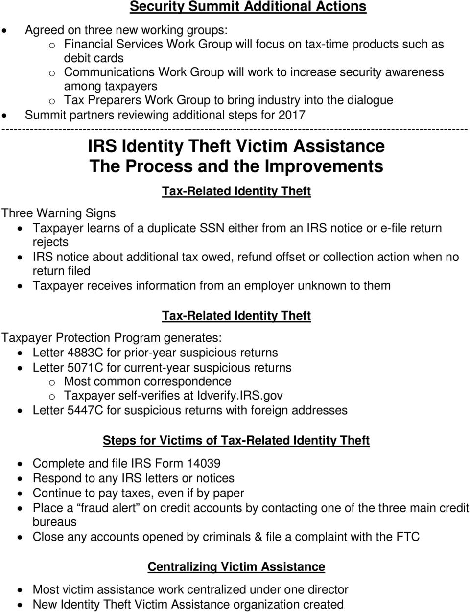 IRS & Partners Combat Tax-Related Identity Theft What s New for PDF