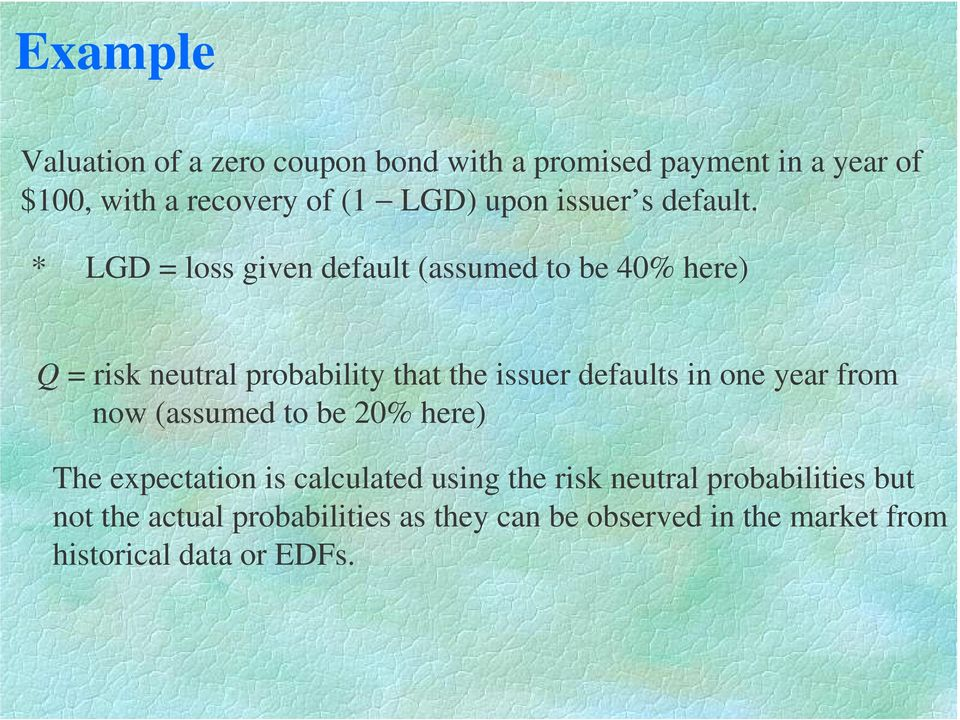 * LGD loss given default (assumed to be 40% here) Q risk neutral probability that the issuer defaults in one