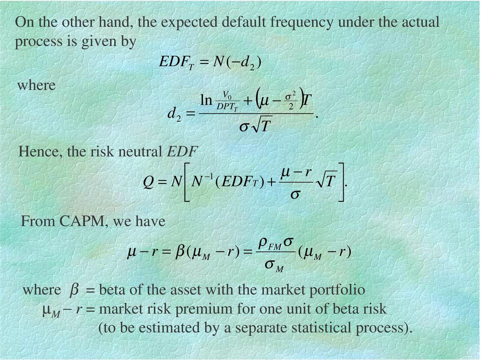 From CAPM, we have ρ FMσ µ r β ( µ M r) ( µ M r) σ where β beta of the asset with the market