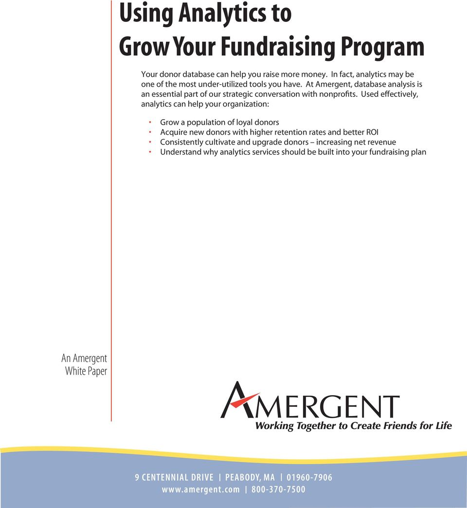 At Amergent, database analysis is an essential part of our strategic conversation with nonprofits.