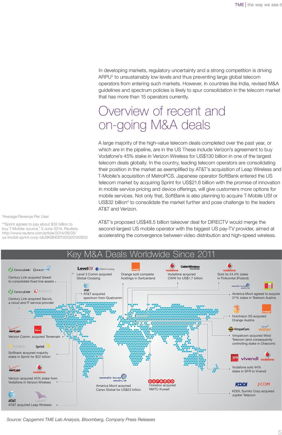 Overview of recent and on-going M&A deals A large majority of the high-value telecom deals completed over the past year, or which are in the pipeline, are in the US These include Verizon s agreement