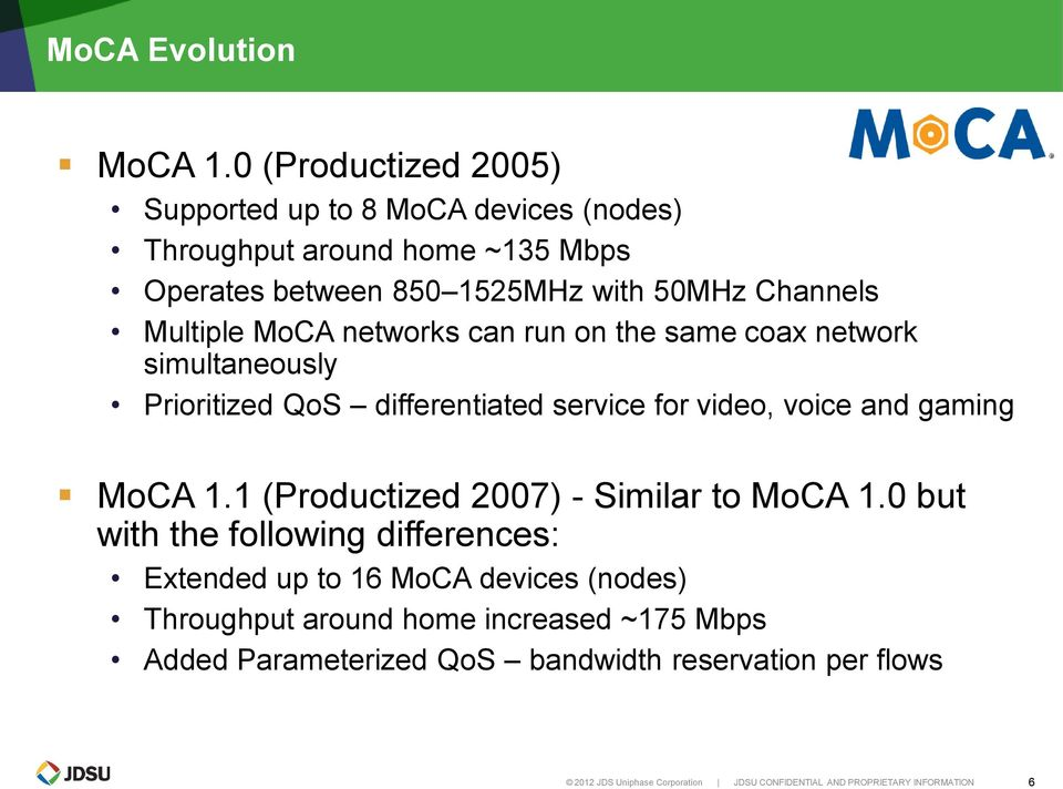 MoCA networks can run on the same coax network simultaneously Prioritized QoS differentiated service for video, voice and gaming MoCA 1.