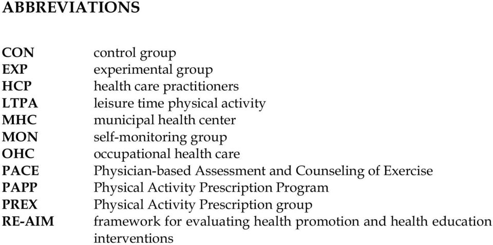 occupational health care Physician-based Assessment and Counseling of Exercise Physical Activity