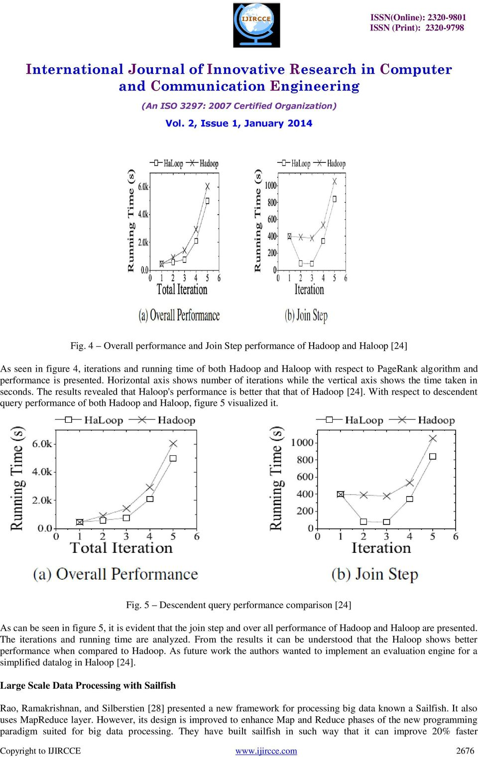 The results revealed that Haloop's performance is better that that of Hadoop [24]. With respect to descendent query performance of both Hadoop and Haloop, figure 5 visualized it. Fig.