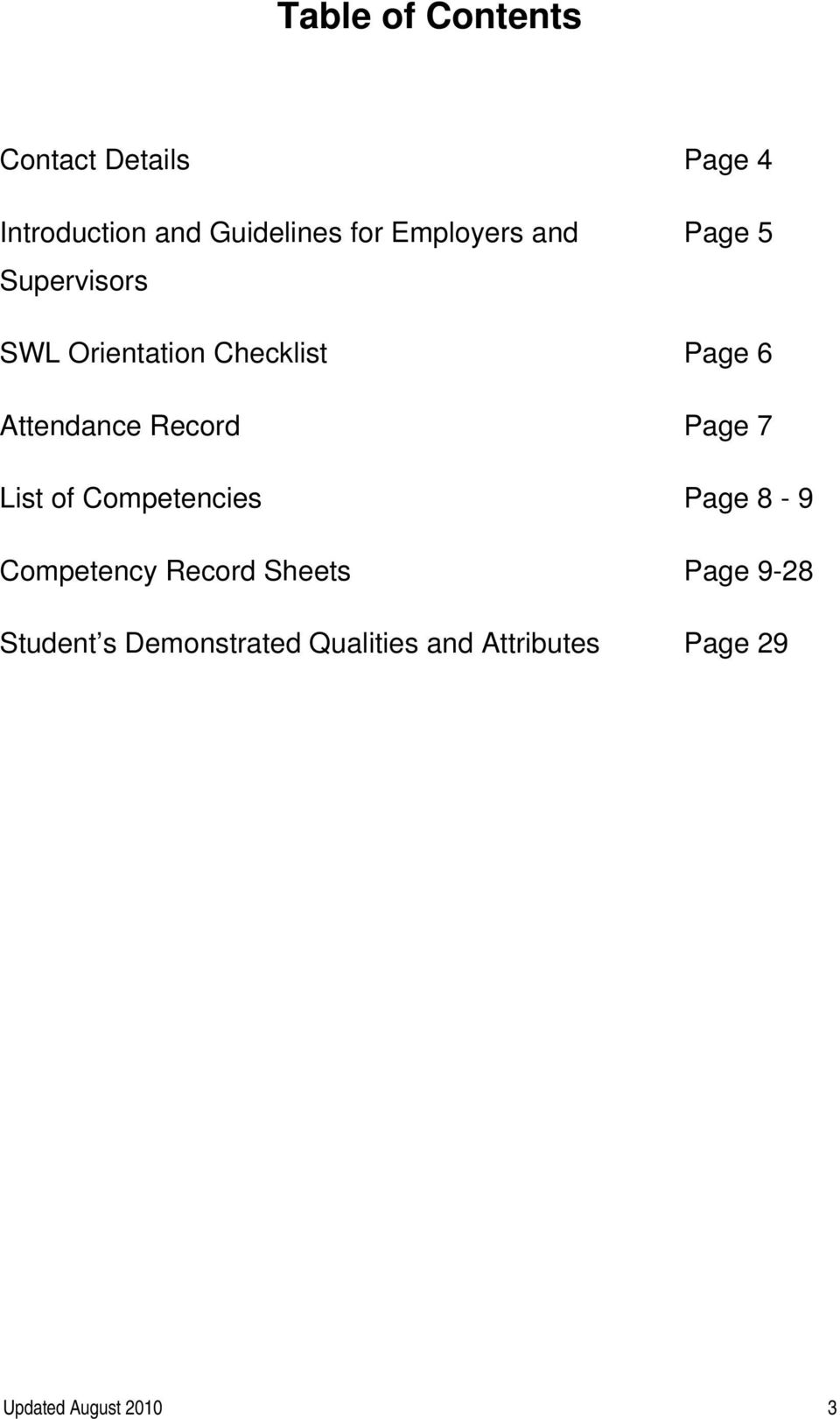 Record Page 7 List of Competencies Page 8-9 Record Sheets Page 9-28