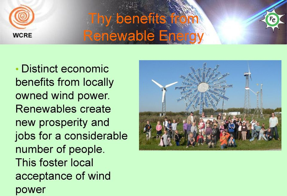 Renewables create new prosperity and jobs for a