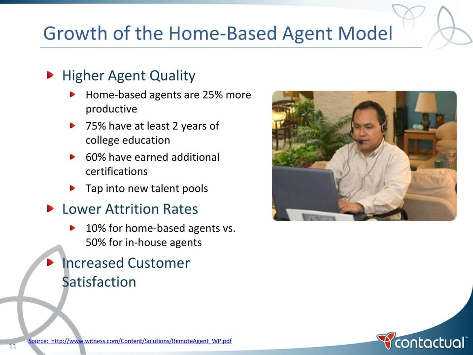 certifications Tap into new talent pools Lower Attrition Rates 10% for home-based agents vs.