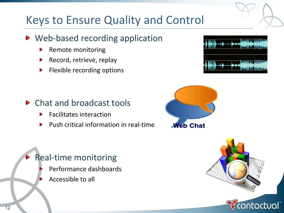 Chat and broadcast tools Facilitates interaction Push critical