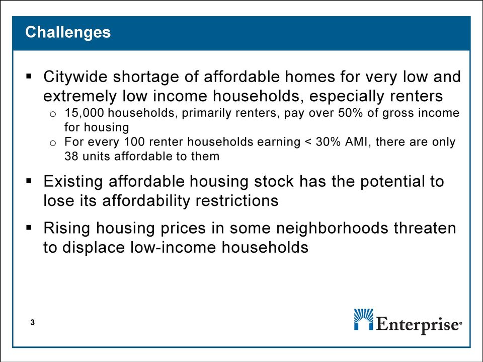 earning < 30% AMI, there are only 38 units affordable to them Existing affordable housing stock has the potential to
