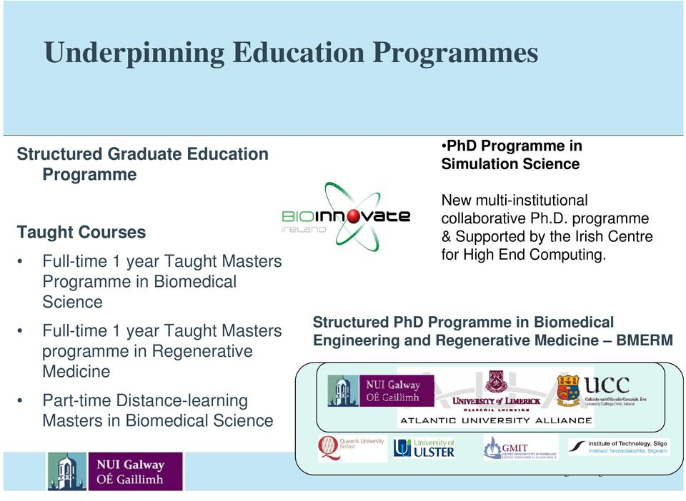 Masters in Biomedical Science PhD Programme in Simulation Science New multi-institutional collaborative Ph.D. programme & Supported by the Irish Centre for High End Computing.