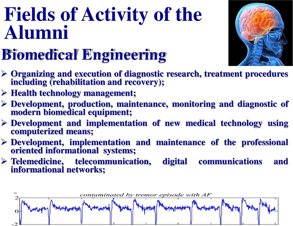 biomedical equipment; Development and implementation of new medical technology using computerized means; Development, implementation and