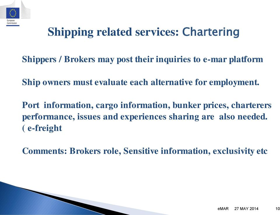 Port information, cargo information, bunker prices, charterers performance, issues and