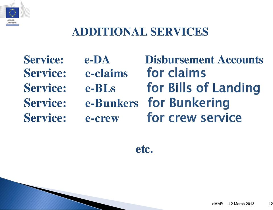 for Bills of Landing Service: e-bunkers for Bunkering