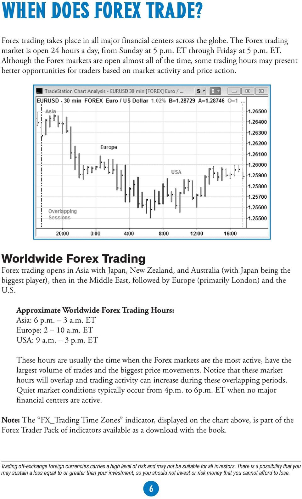 Worldwide Forex Trading Forex trading opens in Asia with Japan, New Zealand, and Australia (with Japan being the biggest player), then in the Middle East, followed by Europe (primarily London) and