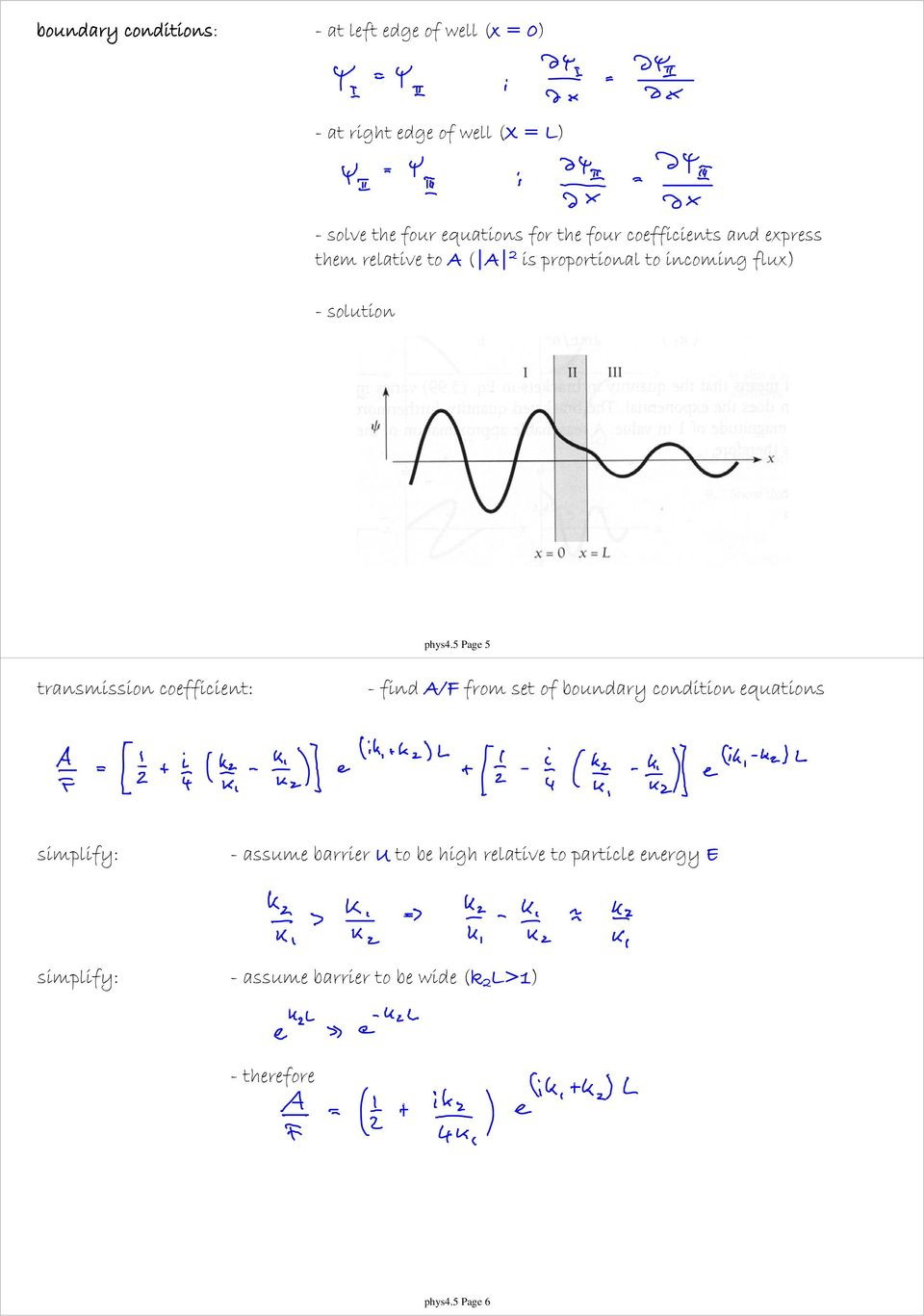 5 Page 5 transmission coefficient: - find A/F from set of boundary condition equations simplify: - assume barrier