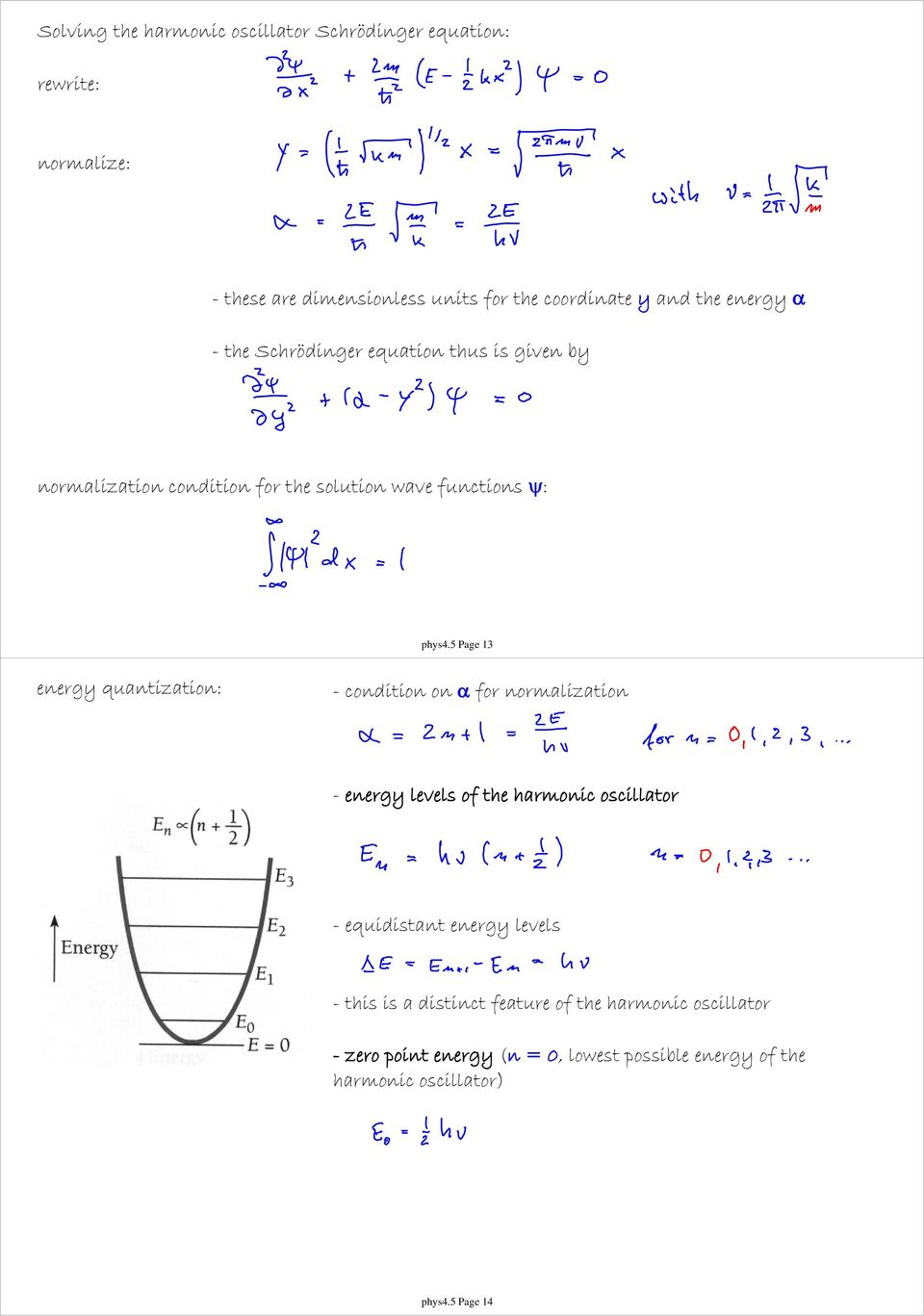 5 Page 13 energy quantization: - condition on α for normalization - energy levels of the harmonic oscillator - equidistant energy