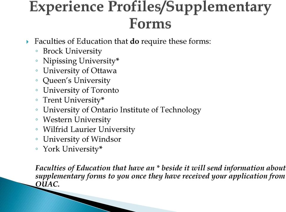 University Wilfrid Laurier University University of Windsor York University* Faculties of Education that have an