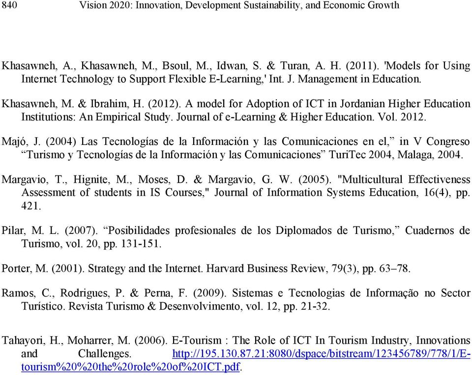 A model for Adoption of ICT in Jordanian Higher Education Institutions: An Empirical Study. Journal of e-learning & Higher Education. Vol. 2012. Majó, J.