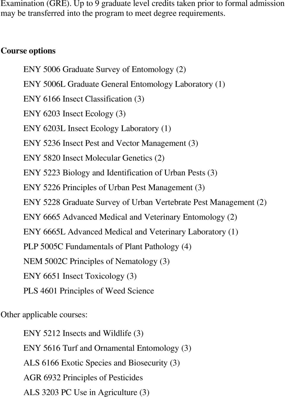 Laboratory (1) ENY 5820 Insect Molecular Genetics (2) ENY 5223 Biology and Identification of Urban Pests (3) ENY 5226 Principles of Urban Pest Management (3) ENY 5228 Graduate Survey of Urban