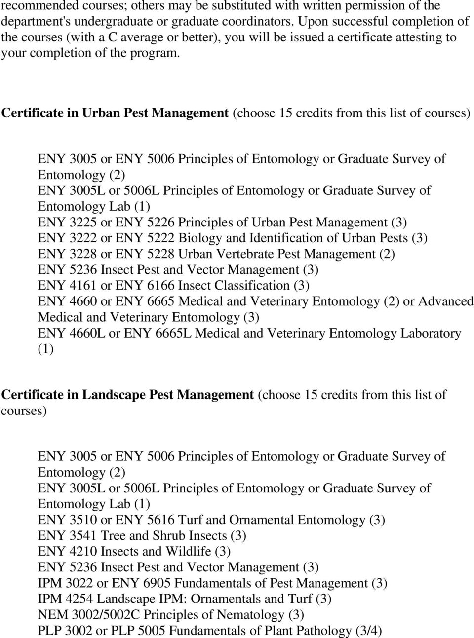 Certificate in Urban Pest Management (choose 15 credits from this list of courses) ENY 3005 or ENY 5006 Principles of Entomology or Graduate Survey of Entomology (2) ENY 3005L or 5006L Principles of