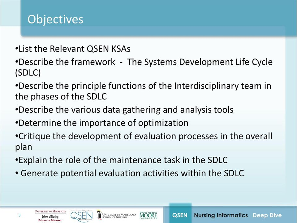 and analysis tools Determine the importance of optimization Critique the development of evaluation processes in the