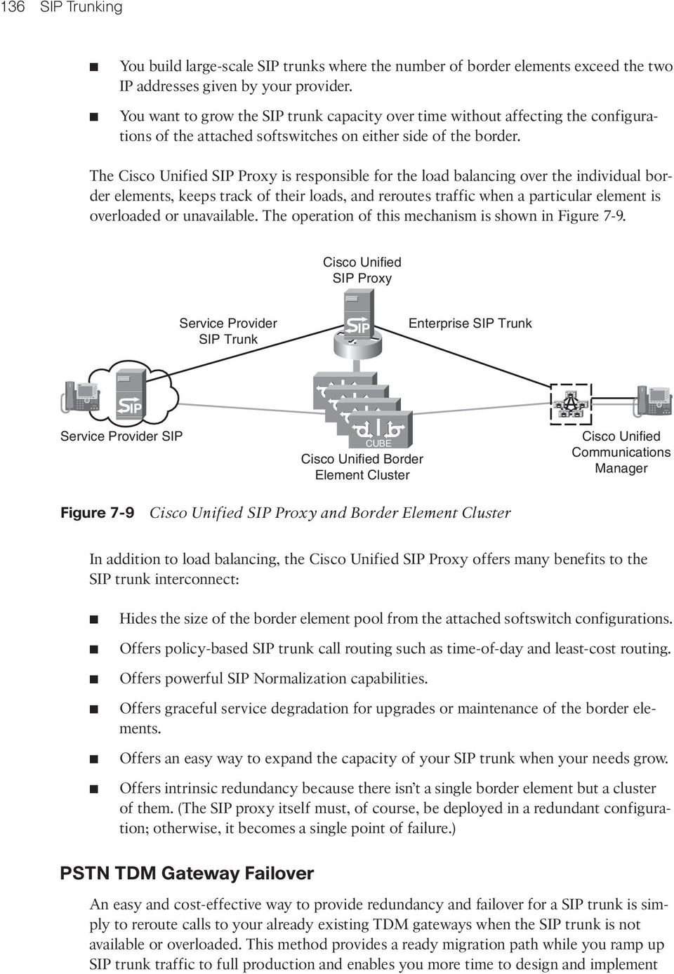 The Cisco Unified SIP Proxy is responsible for the load balancing over the individual border elements, keeps track of their loads, and reroutes traffic when a particular element is overloaded or