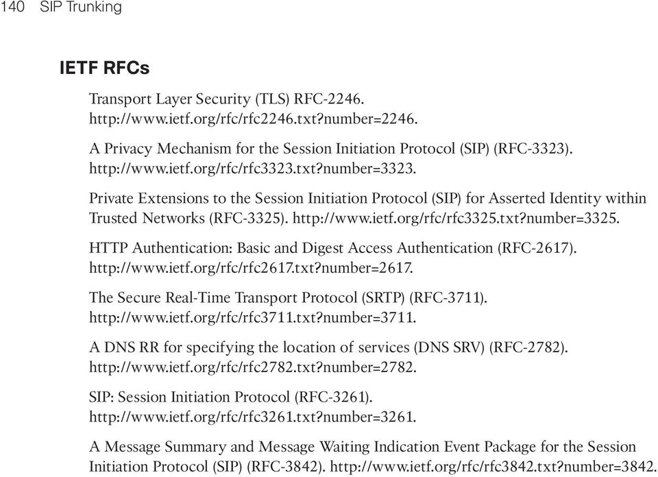 txt?number=3325. HTTP Authentication: Basic and Digest Access Authentication (RFC-2617). http://www.ietf.org/rfc/rfc2617.txt?number=2617. The Secure Real-Time Transport Protocol (SRTP) (RFC-3711).