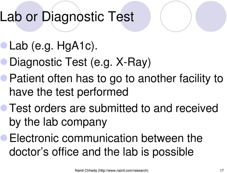 HgA1c). Diagnostic Test (e.g. X-Ray) Patient often has to go to another facility