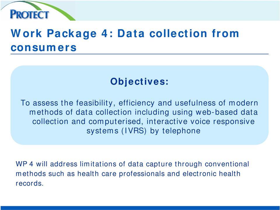 computerised, interactive voice responsive systems (IVRS) by telephone WP 4 will address limitations