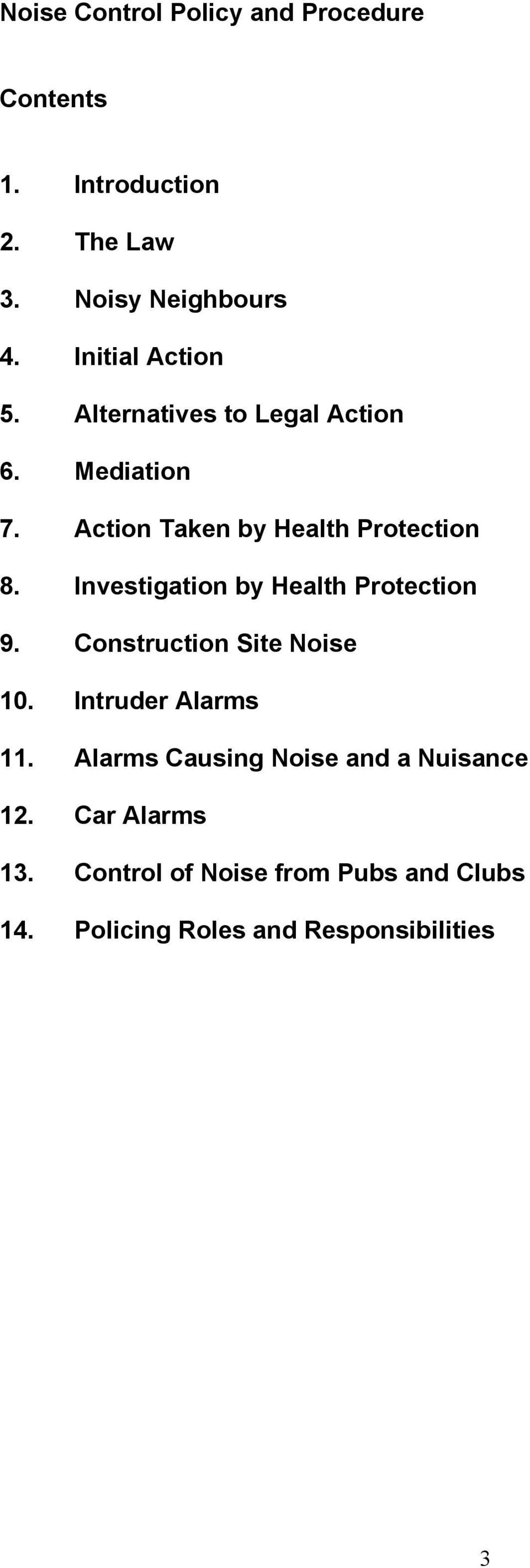 Investigation by Health Protection 9. Construction Site Noise 10. Intruder Alarms 11.