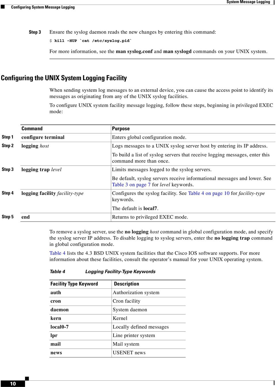 Configuring the UNIX System Logging Facility When sending system log messages to an external device, you can cause the access point to identify its messages as originating from any of the UNIX syslog