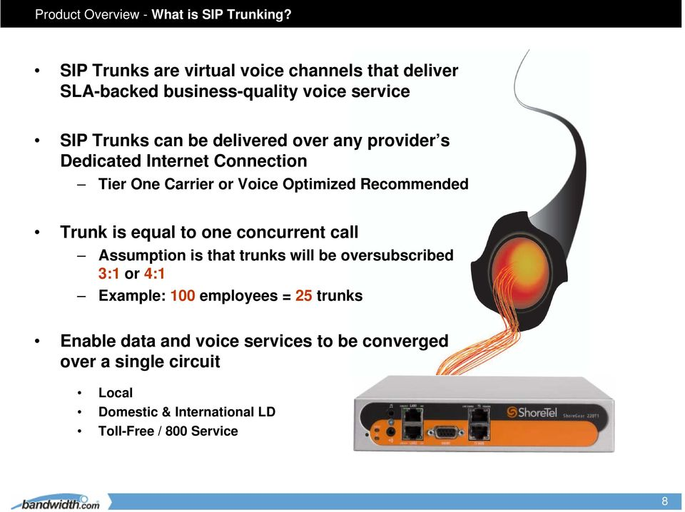 any provider s Dedicaed Inerne Connecion Tier One Carrier or Voice Opimized Recommended Trunk is equal o one concurren call