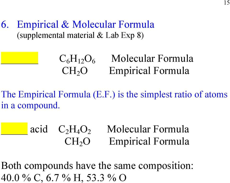 acid C 2 H 4 O 2 CH 2 O Molecular Formula Empirical Formula Both compounds have