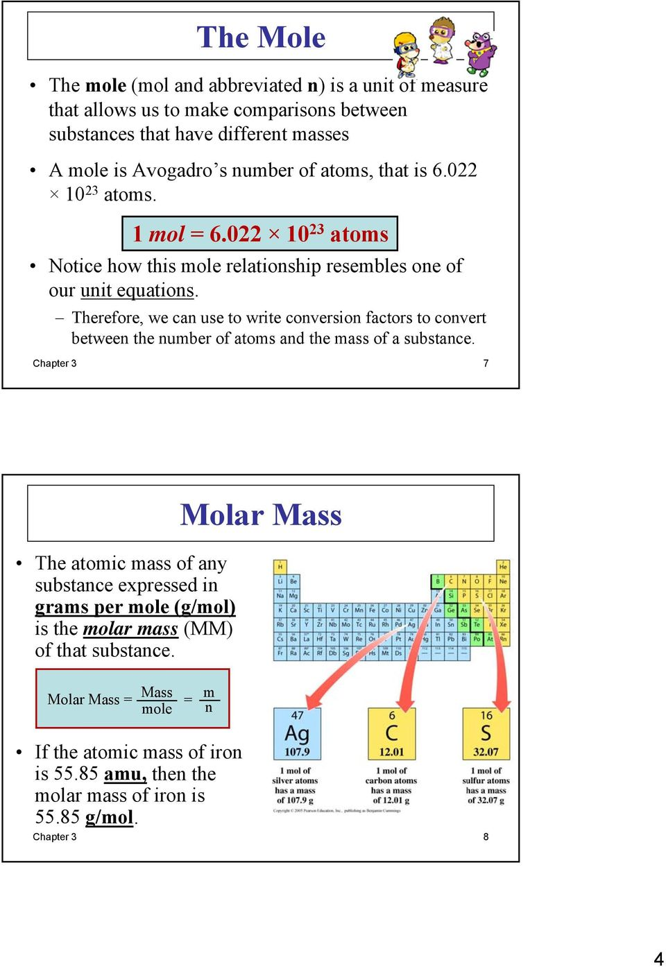 Therefore, we can use to write conversion factors to convert between the number of atoms and the mass of a substance.