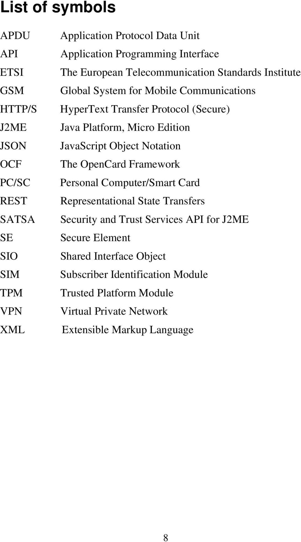 Micro Edition JavaScript Object Notation The OpenCard Framework Personal Computer/Smart Card Representational State Transfers Security and Trust Services