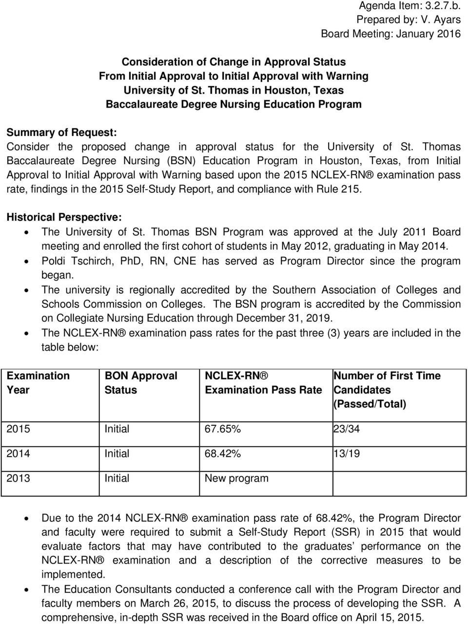 Ayars Board Meeting: January 2016 Summary of Request: Consider the proposed change in approval status for the University of St.