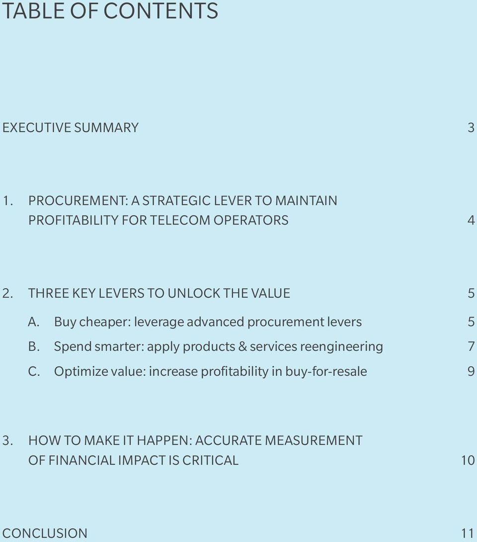 THREE KEY LEVERS TO UNLOCK THE VALUE 5 A. Buy cheaper: leverage advanced procurement levers 5 B.