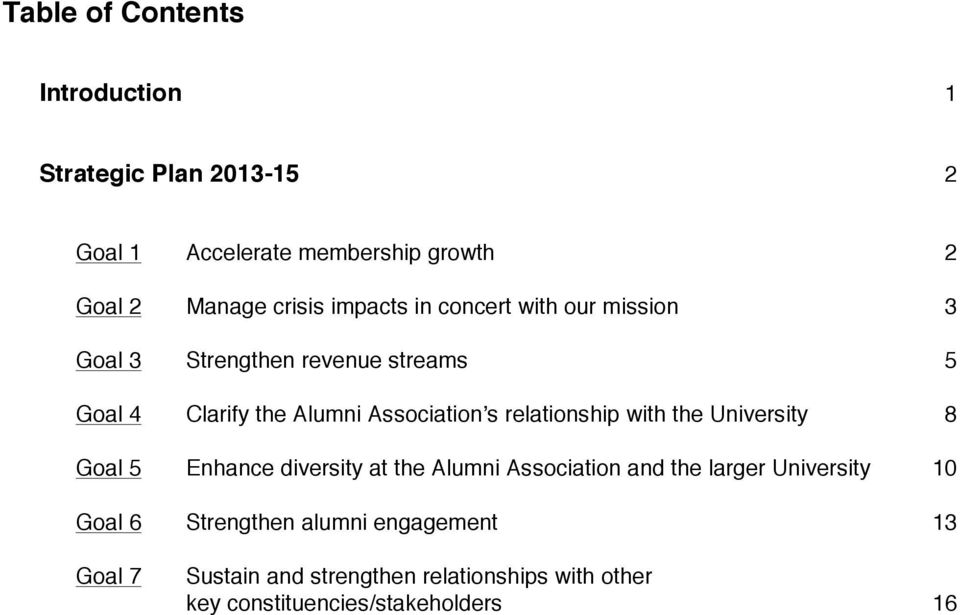 relationship with the University 8 Goal 5 Enhance diversity at the Alumni Association and the larger University 10
