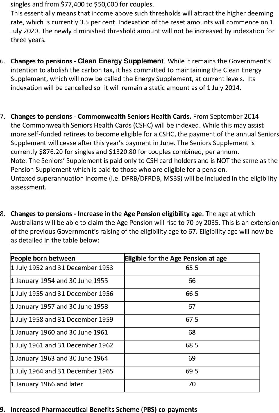 Changes to pensions - Clean Energy Supplement.