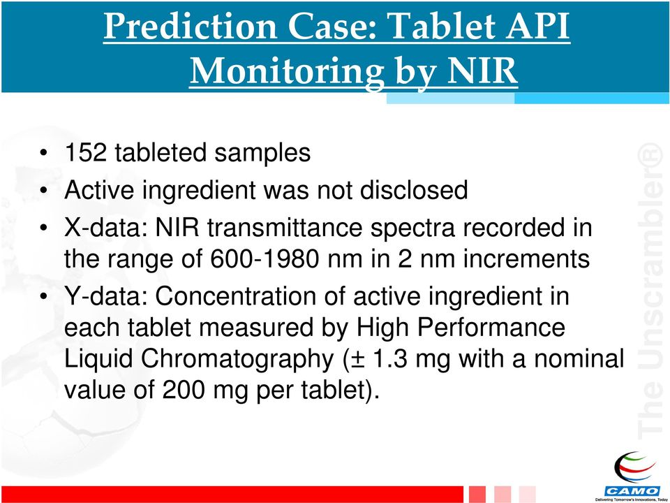 2 nm increments Y-data: Concentration of active ingredient in each tablet measured by