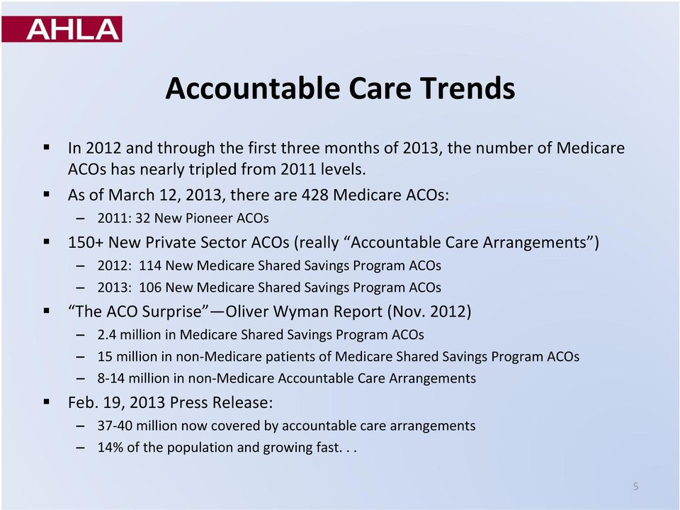 Program ACOs 2013: 106 New Medicare Shared Savings Program ACOs The ACO Surprise Oliver Wyman Report (Nov. 2012) 2.