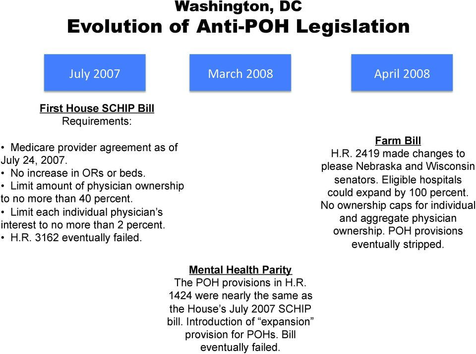 Farm Bill H.R. 2419 made changes to please Nebraska and Wisconsin senators. Eligible hospitals could expand by 100 percent. No ownership caps for individual and aggregate physician ownership.