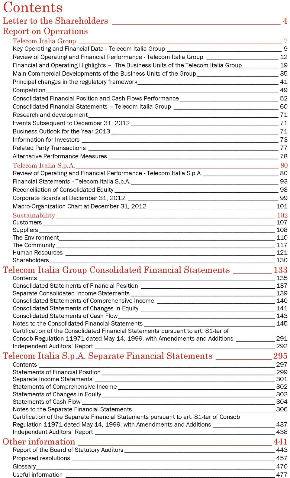 regulatory framework 41 Competition 49 Consolidated Financial Position and Cash Flows Performance 52 Consolidated Financial Statements Telecom Italia Group 60 Research and development 71 Events