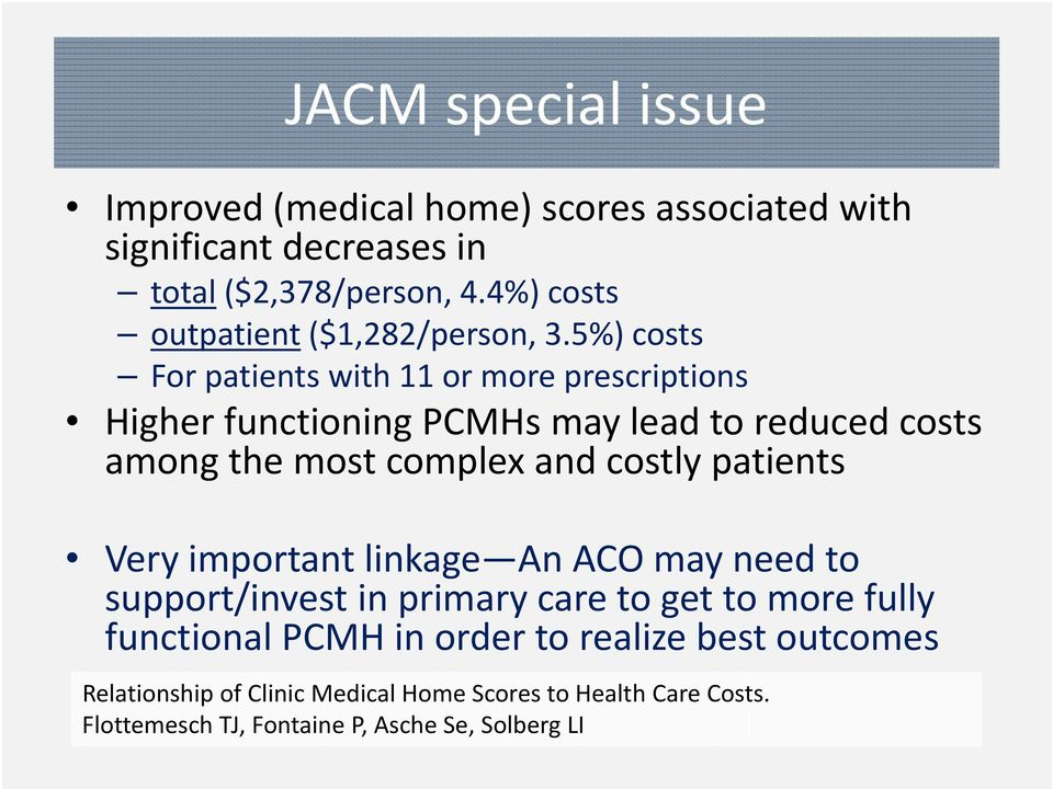5%) costs For patients with 11 or more prescriptions Higher functioning PCMHs may lead to reduced costs among the most complex and costly