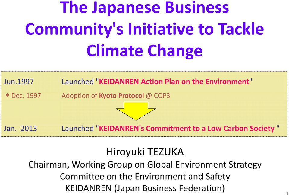 "2013 Launched ""KEIDANREN's Commitment to a Low Carbon Society "" Hiroyuki TEZUKA Chairman, Working"