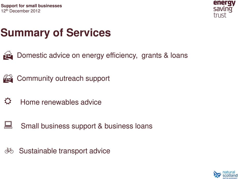 support Home renewables advice Small business