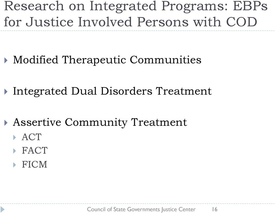 Integrated Dual Disorders Treatment Assertive Community